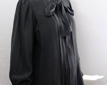 70s YSL yves saint laurent black silk classic secretary tie BLOUSE ladylike vintage 1970s