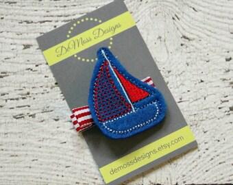 Sailboat Hair Clip, Felt Hair Clip, Machine Embroidered, Alligator Clip, Non Slip, Ready to Ship
