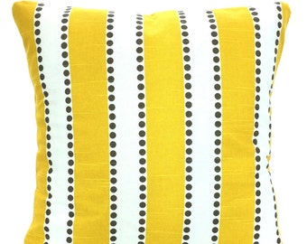 Yellow Stripe Pillow Covers, Decorative Throw Pillows, Cushions, Yellow White Lulu Stripes with Taupe Dots, Couch Bed, One or More ALL SIZES