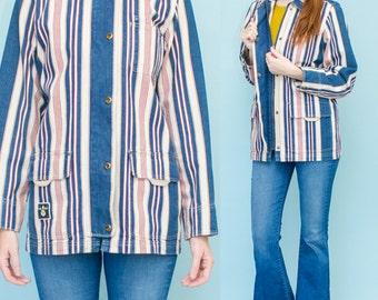 Ralph Lauren Jeans Co NANTUCKET NAUTICAL ANCHOR  Red White Blue Striped Denim Jacket Medium