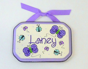 Girl's Room Sign Plaque Hand Painted Purple Butterflies and Aqua Ladybugs Personalized