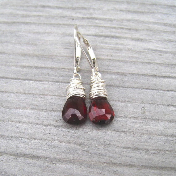 Garnet Earrings Sterling Silver,  January Birthstone,  Burgandy Dangle Earrings,  Wire Wrapped, Garnet Jewelry