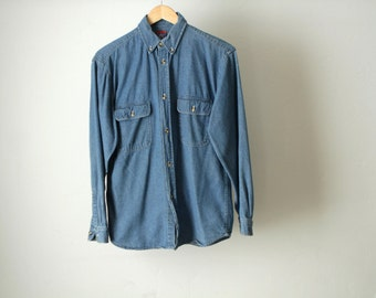 deep blue NIRVANA 90s DENIM mens vintage shirt