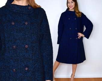 60s Navy Blue & Black Wool Coat Classic Winter Coat, Large