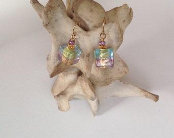 Vintage Tinted Glass Earrings // 1990s