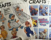 McCalls Dolls Sewing pattern bundle SIX. Baby Outfits and carrier: 7398, 6875, 4736, 2862, 4907, 6277