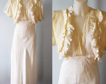 Vintage Ivory Nightgown, 1930s Nightgown, Wedding, Romantic, 1930s Lingerie, Nightgown