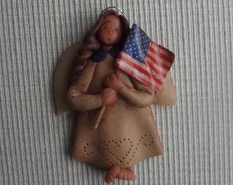Americana angel ~ hand sculpted polymer clay angel ornament