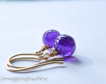 Gold Amethyst Earrings, 14k Solid Gold Amethyst dew drops, vibrant orchid, purple, February Birthstone , birthstone earrings