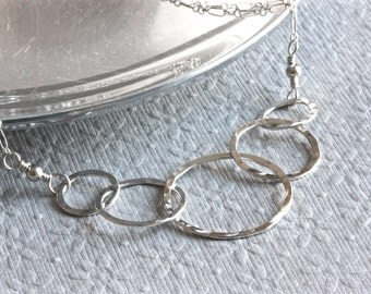 5 Interlocking Circle Necklace, Sterling Silver Chain Necklace, Mothers Necklace, Mother and Child Necklace, Christian Jewelry for Mom