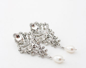 Bridal Earrings Chandelier, Bridal Statement Jewelry, Bridal Chandelier Earrings, Art Deco Wedding Earrings, Art Deco Bridal Earrings, Pearl