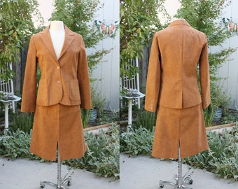 1970's Brown Suede Cloth Jacket And Skirt Suit Size 12 Vintage Retro 70s Washable Samuel Robert Office Hipster Urban Rust Copper Costume
