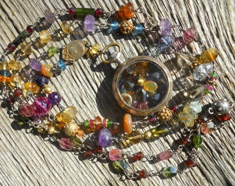 Double Rainbow      Victorian Pocket Watch Gemstone Chain Necklace