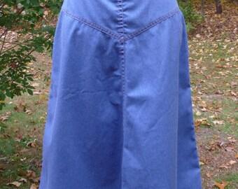 Classic Vintage Light Denim Blue Jeans Skirt