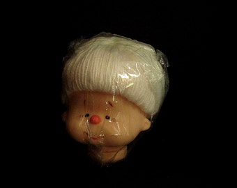 White Mitzy Head, Granny Mitzy Head, White Yarn Hair, 4 and half In Head, Fiber Craft, Large Mitzy Head, Mitzy With Yarn Hair, Vintage Doll