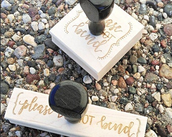 Shop Exclusive - Hand lettered PLEASE DO NoT BEND Wood Stamp  - calligraphy lettering rubber stamp