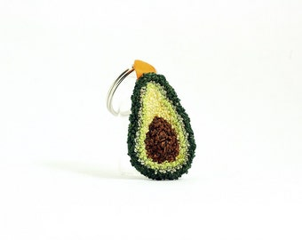 Avocado Keychain. Punchneedle Accessory. Food Art. Spring Green, Light Green, Orange Ribbon. Gift for Foodie, Guacamole