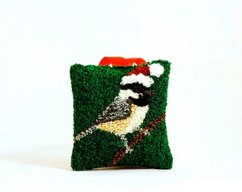 Black-capped chickadee in a Santa Hat Christmas Ornament. Punchneedle Embroidery. Red, Green. Maine State Bird. Massachusetts State Bird.