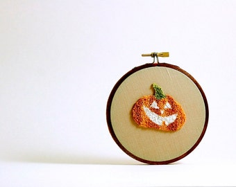 Pumpkin Jack-o-Lantern Glow in the Dark Halloween Decoration. Autumn Fall Home Decor. Orange and Black. Punch Needle Embroidery Hoop Art