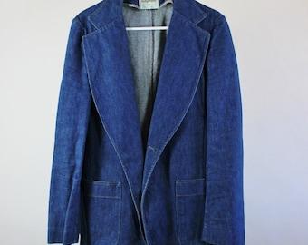 SALE - Vintage 70s Blue Denim Sport Coat Jean Jacket - Mens Size Small