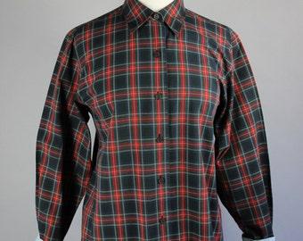 90s Women's Black Stewart Tartan Plaid Spring Summer Long Sleeved Button Down Preppy Office Shirt Blouse, Vintage, Size Medium