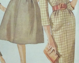 Vintage Dress Making Pattern Full Skirted or Wiggle Dress Simplicity 3153