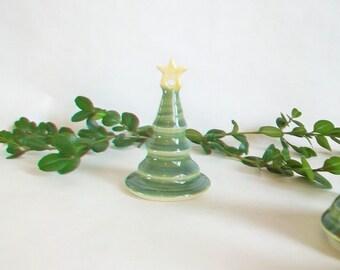 Christmas Tree with a Star on Top - 1 Tree - Handmade, Wheel Thrown - Holiday Decor/Ornament