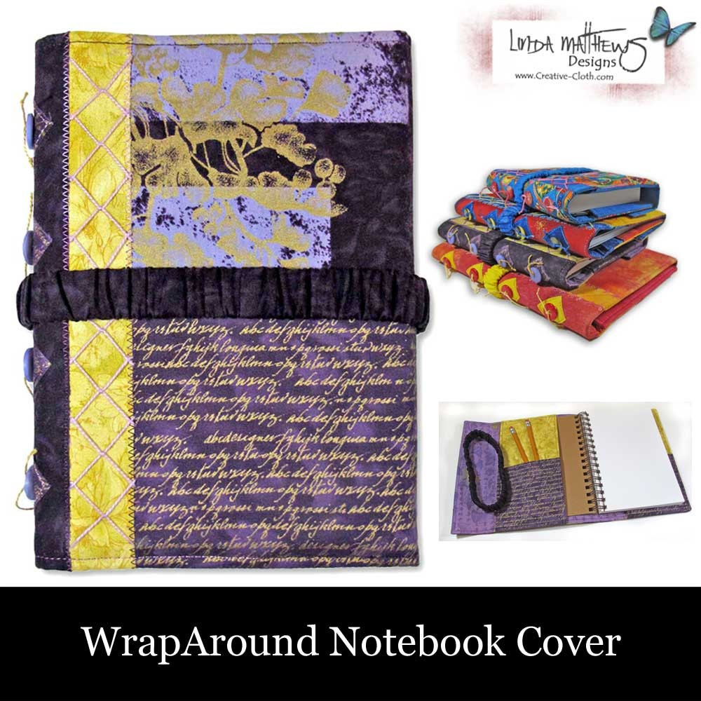 Notebook Cover Sewing Pattern ~ Wraparound notebook cover pdf sewing pattern instant
