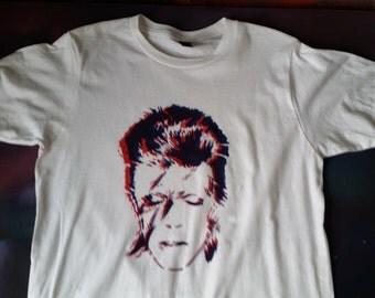 David Bowie tee original stencil shirt tshirt handmade fan art pop spray paint art by Rainbow Alternative