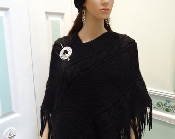 BLACK KNIT PONCHO,size small ,for a shorter woman, Cable stitch ,bulky yarn ,hand knitted