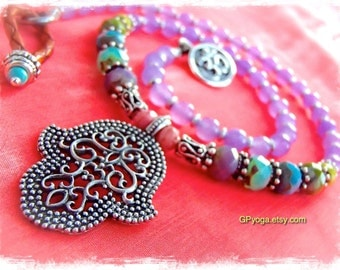 Boho HAMSA NECKLACE Protection Amulet Colorful Hippie OM Yoga Chic jewelry Purple Quartzite Womens fashion Fatima Hand necklace GPyoga