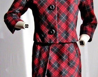 "1950 Red and Charcoal Gray Plaid 3 Piece Suit  24"" Waist"