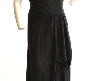 "1940s Full Length Black Crepe Gown With Amazing Drape  28"" Waist"