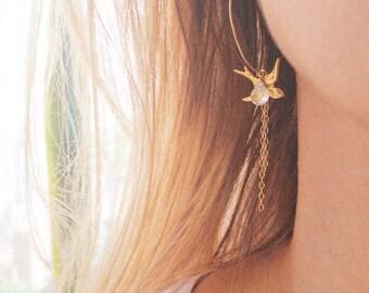 Birthstone Earrings, Gold Hoop Earrings, Sparrow Earrings, Charm Earrings, Gemstone Earrings