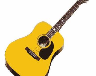 Acoustic antique guitar digital embroidery design, Guitar instrument digitized design