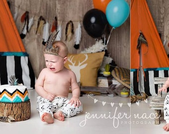 One Little Two Little american indian inspired feather banner bucket wrap garland and headband set