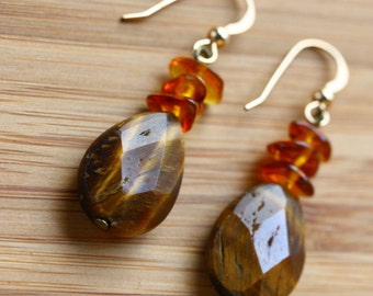 Faceted Tigers eye earrings with amber and gold