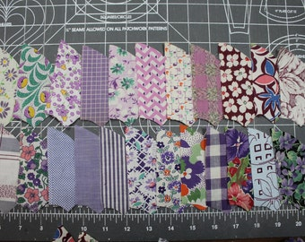 1900 1930 Purple Lavender Quilt FABRIC - Percale And Feedsack -Novelty Floral- Gingham- Quilting Pieces - Fan Pinwheel - 77 Pieces
