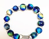 Bright Blue Fused Glass Dichroic Link Bracelet