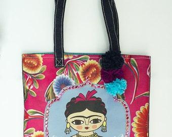 Frida Kahlo bag, original illustration, fucsia bag.