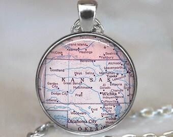 Kansas map pendant, map jewelry, state map jewelry Kansas map necklace Kansas pendant vintage map key chain