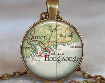 Hong Kong map necklace, Hong Kong map pendant, Hong Kong necklace, Hong Kong pendant, map jewelry keychain key chain