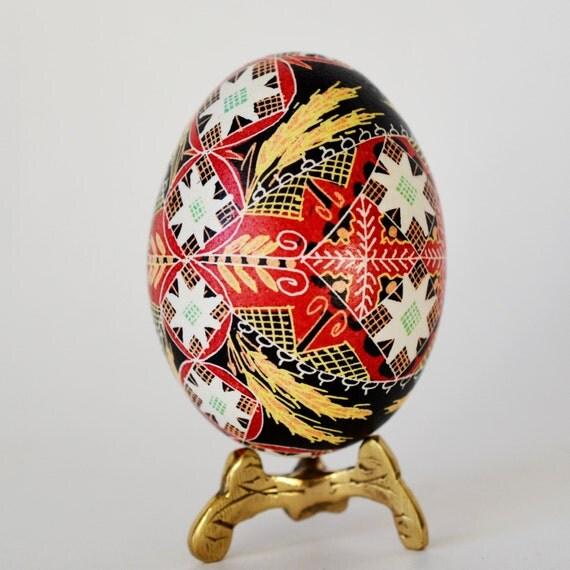 Intricate Pysanka Ukrainian Easter Egg, hand decorated chicken egg shell