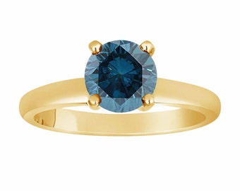 Fancy Blue Diamond Solitaire Engagement Ring 1.00 Carat 14K Yellow Gold Certified HandMade