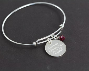 Engraved Handwriting Jewelry Pendant Bangle Bracelet, 925 Sterling Silver Jewelry