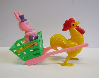 Vintage Easter Express Bunny Candy container Rosbro Celluloid Rooster pulling cart Pink Purple Rabbit