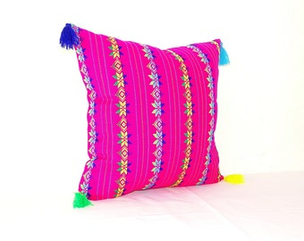 Mexican Pillow cover 20X20, Bohemian Decor, Boho Bedding, Pink Pillow Cover with tassels, Mexican Embroidery, Throw pillow, Cushion Covers,