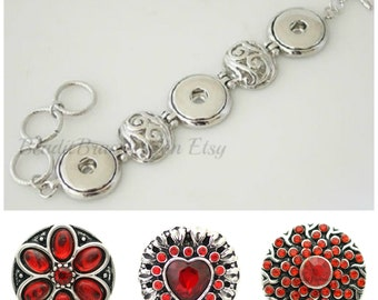 Red Heart Snap Bracelet interchangeable with Ginger Snaps Jewelry. Comes with 3 x 20 mm red snap charms plus 18-20 mm snap bracelet.