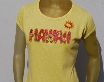 Vintage 70's hawaiian t-shirt NOS never used size M souvenir from Hawaii patchwork cap sleeves t-shirt by thekaliman