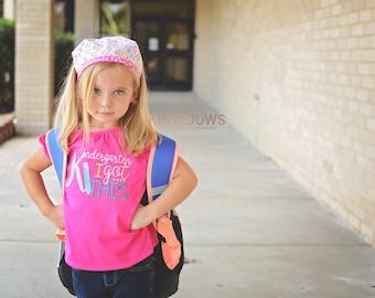 Kindergarten I Got This, First Day of School Girl Shirt, Pink, Back to School, Alphabet fabric Bandana Headband